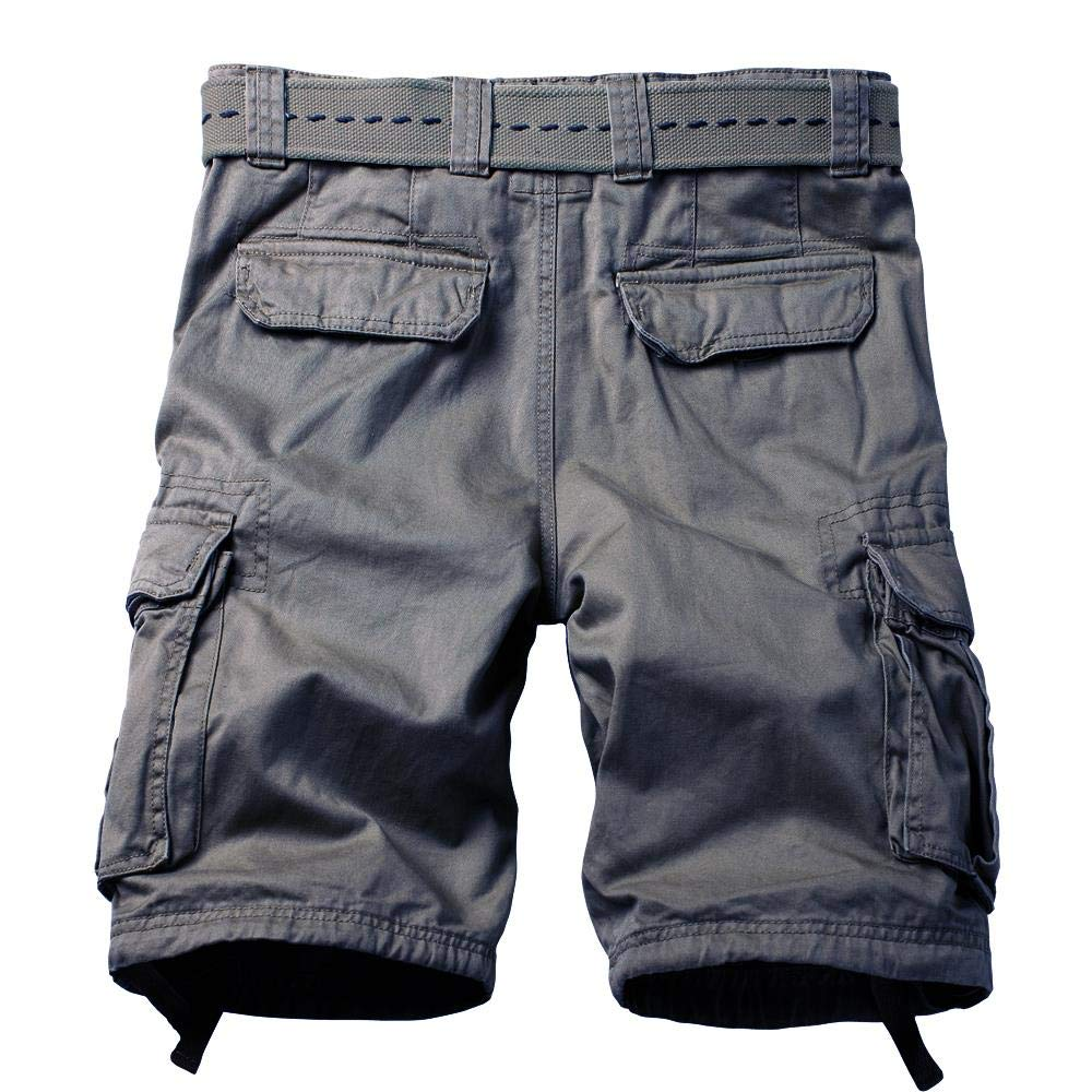 AKARMY Mens Multi Pocket Loose Fit Cotton Twill Cargo Shorts
