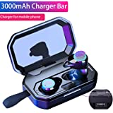 True Wireless Earbuds,Bluetooth 5.0 Wireless Headphones HiFi Stereo Sound with 3000 mAh Charging Case, TWS Bluetooth Earphones Mini in-Ear Sweatproof Headset (Smart Touch, IPX6, 80 Hours Playtime)