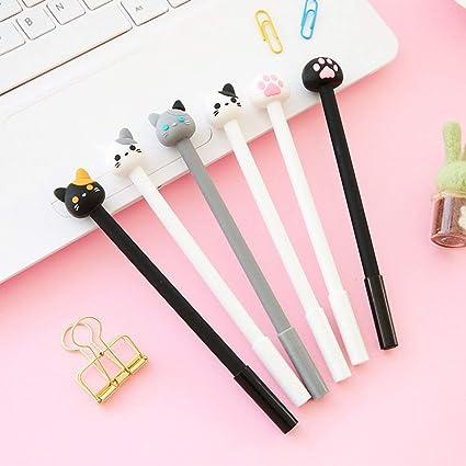 ZLYHXYR 10 piezas de la pluma del gel del gato lindo útiles escolares material escolar: Amazon.es: Oficina y papelería