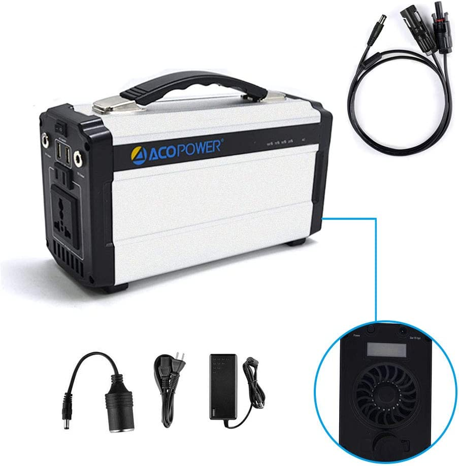 ACOPOWER Portable Solar Generator for Camping 60,000mAh Lithium Ion Battery DC Inverter Power Bank USB 5V DC 12V 110V Input AC, Car Solar Panel