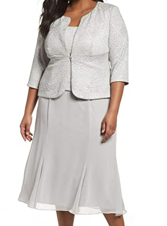 4971c7a69b1fd Alex Evenings Women's Plus-Size T-Length Mock Dress with Sequin Jacket at  Amazon Women's Clothing store: