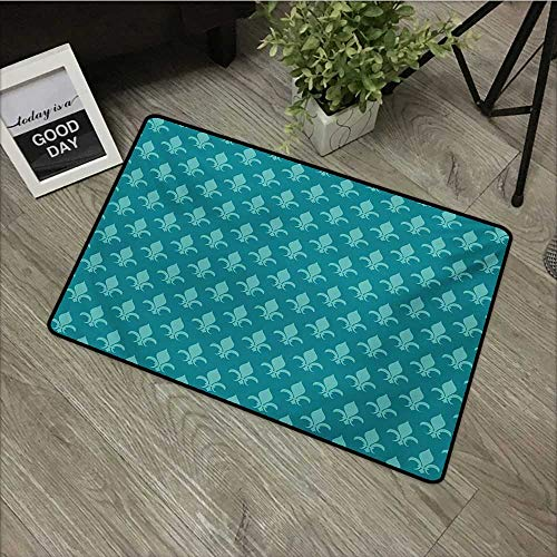 Bathroom door mat W16 x L24 INCH Fleur de Lis,Classical Retro Style Victorian Damask Pattern with Arabesque Oriental Effects Image,Teal Natural dye printing to protect your baby's skin Non-slip Door M
