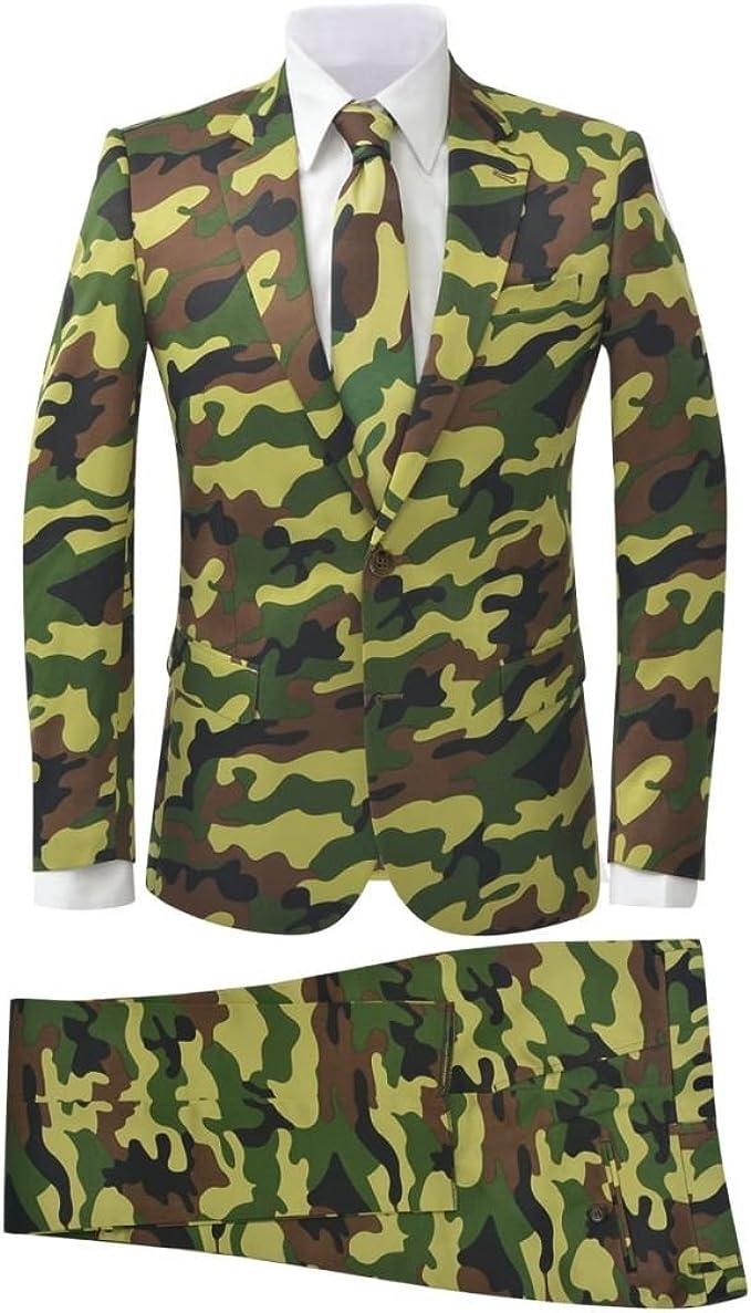vidaXL Traje de vestir para hombre corbata 2 piezas camuflaje talla 50
