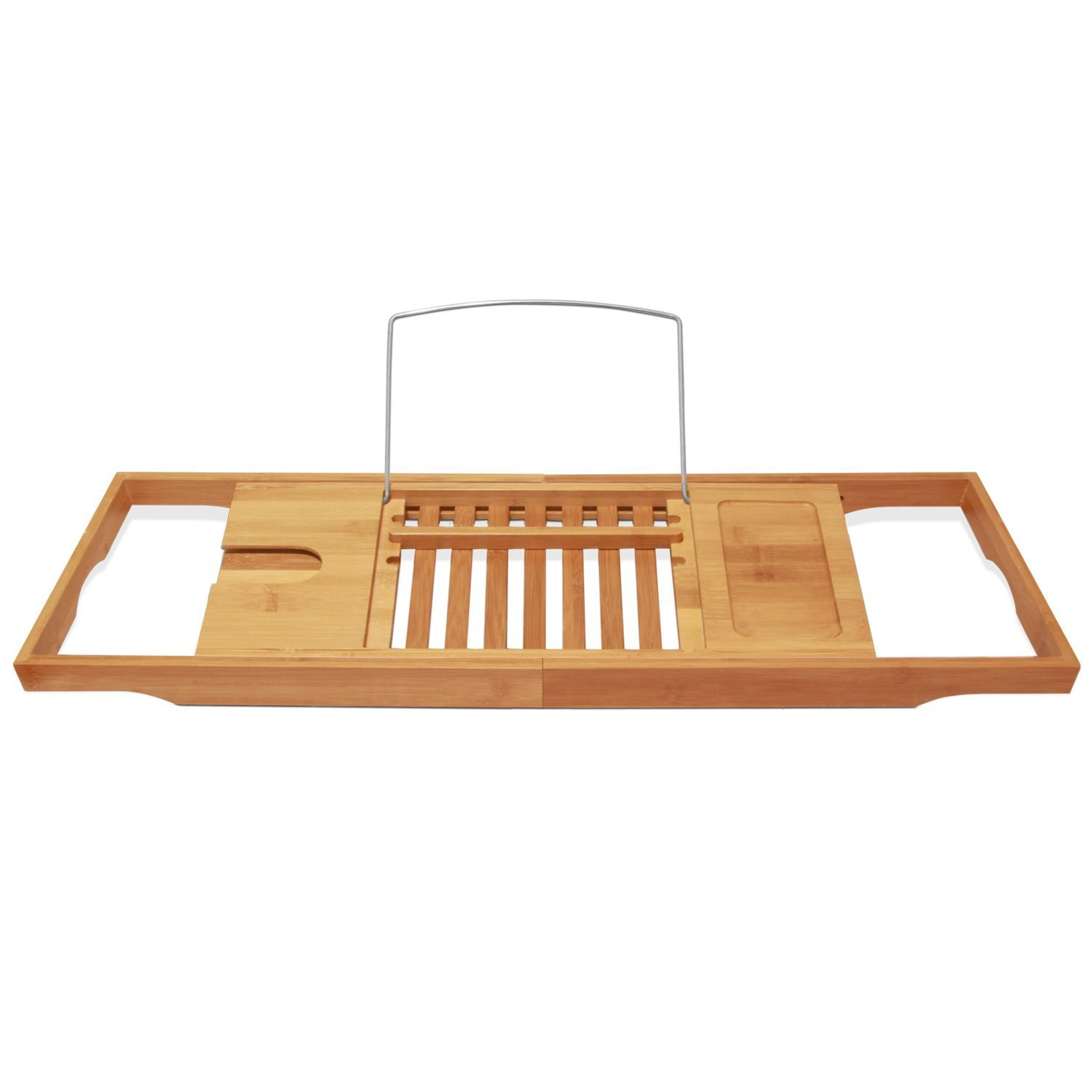 ToiletTree Products Bamboo Wooden Bathtub Caddy with Extending Sides and Adjustable Book Holder TTP-BTC-1