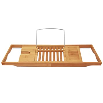Amazon.com: ToiletTree Products Bamboo Bathtub Caddy with Extending ...