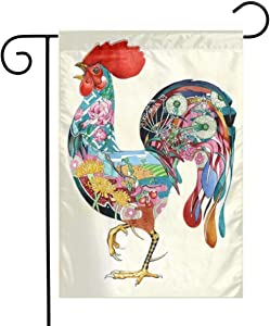 Racing angel Seasonal Garden Flag-12 x 18 for Double-Sided Outdoors Lawn Decor-Ideal Decoration for Garden Watercolor Rooster