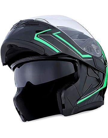 4337785d 1Storm Motorcycle Modular Full Face Helmet Flip up Dual Visor Sun Shield:  HB89 Arrow Green