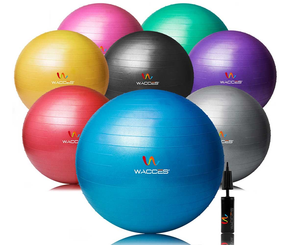 Wacces Professional Exercise, Stability and Yoga Ball for Fitness, Balance & Gym Workouts- Anti Burst - Quick Pump Included (Yellow, 75 cm) by Wacces (Image #7)