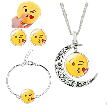Amazon Com 3 Pack Funny Emoji Necklace Bracelet Earrings Emoji