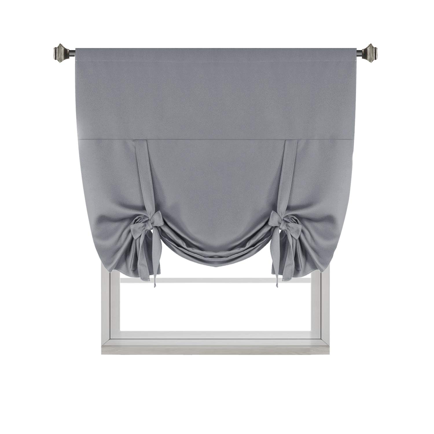 H.VERSAILTEX Premier Thermal Insulated Blackout Curtain Tie Up Window Shade (Rod Pocket Panel) - 42'' Wide by 63'' Long - Dove Gray