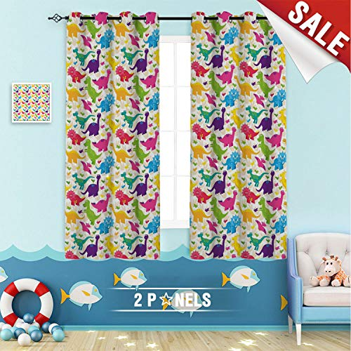 Kids Thermal Blackout Curtain Panels Cute Dinosaurs Pattern Baby Childish Playroom Nursery Toddler Wild Caricature Design Window Drapes for Home Decor W55 x L45 Inch Multicolor