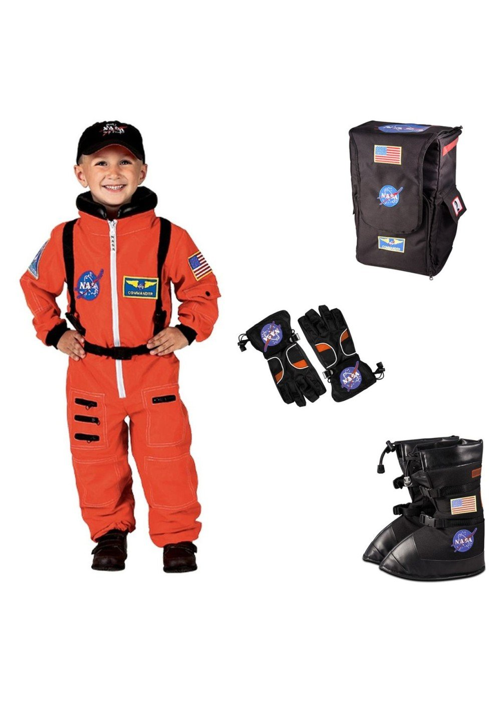 Big Boys' Nasa Orange Astronaut Costume Boots Gloves and Backpack