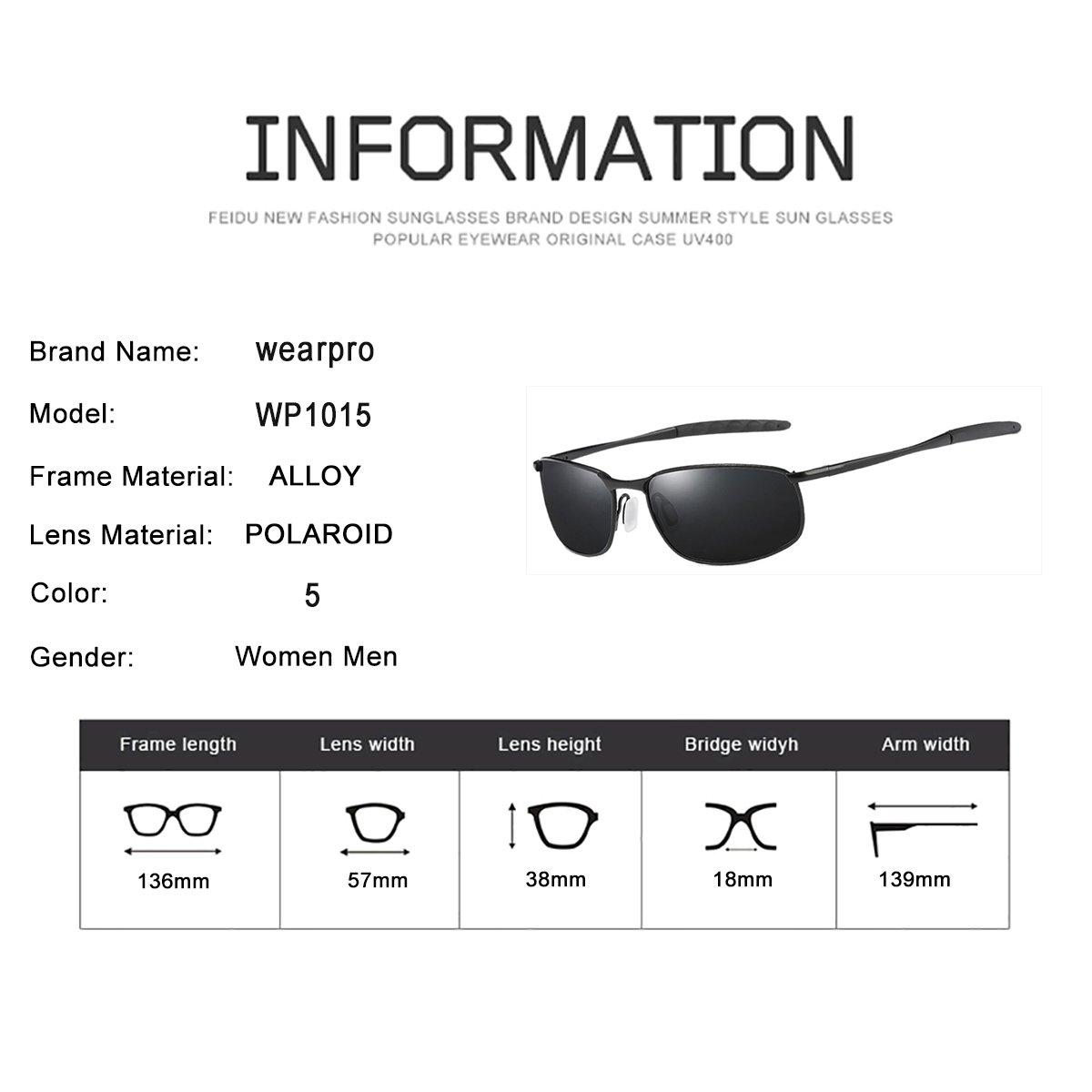 Occhiali da sole da uomo Sport montatura in metallo polarizzato con lenti in vetro Occhiali da sole moda caldi per uomo WP1015