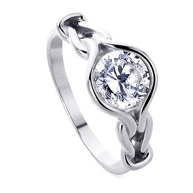Amazon Com Rhodium Plated Sterling Silver Wedding Ring Celtic Love