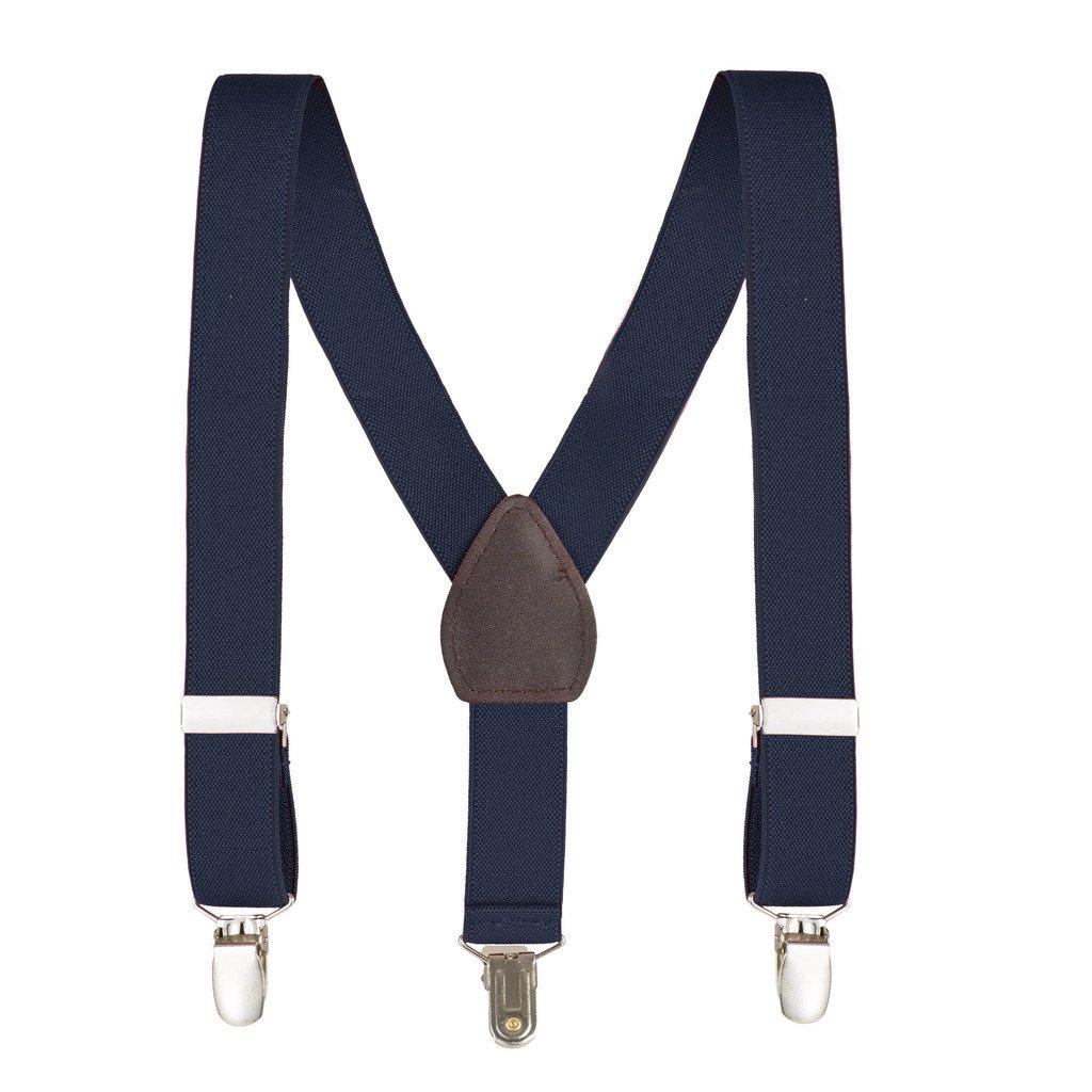 kid N' me Kids and baby Adjustable Elastic Solid Supenders Navy, 26 Inch