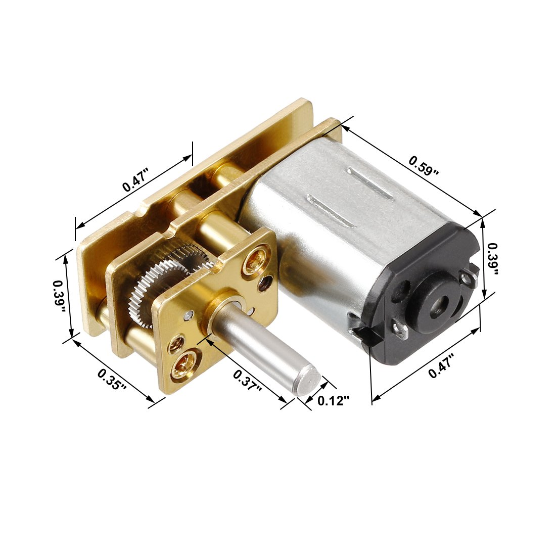 uxcell Micro Gear Box Speed Reduction Motor DC 3V 15RPM Electric Geared Motor with 2 Terminals 0.4kg.cm 0.15A for DIY Toy