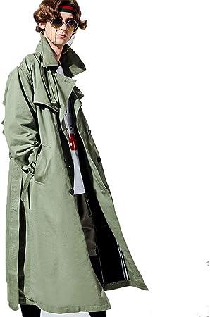 Trench Coat-Lapelera de Solapa para Hombre sobre la Rodilla Chaqueta de Primavera y otoño Larga Moda Completa, Gabardina de algodón con Doble Botonadura (Color : Green, Size : L/175): Amazon.es: Hogar