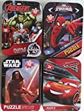4 Collectible Girls/Boys Mini Jigsaw Puzzles in Travel Tin Cases: Marvel Disney Kids Star Wars, Avengers, Spiderman, Cars Gift Set Bundle