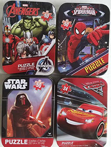 4 Collectible Girls/Boys Mini Jigsaw Puzzles in Travel Tin Cases: Marvel Disney Kids Star Wars, Avengers, Spiderman, Cars Gift Set Bundle -