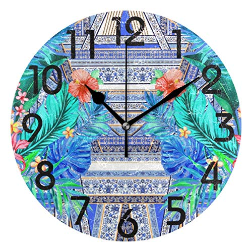 Digit Clock Pace (Dozili Artistic Tropical Leaves Flowers Pattern Round Wall Clock Arabic Numerals Design Non Ticking Wall Clock Large for Bedrooms,Living Room,Bathroom)
