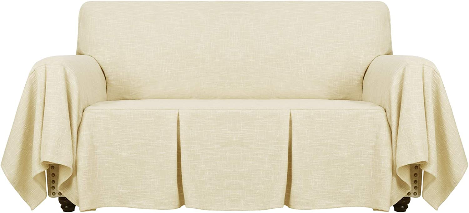 YEMYHOM Linen Sofa Cover Universal Couch Covers for 2 Cushion Couch Premium Pet Dog Loveseat Slipcover Living Room Furniture Protector Love Seat Slip Cover with Ruffles (Loveseat, Light Yellow)