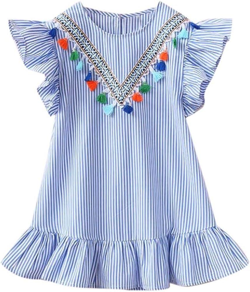 b644d0f7 Vicbovo Little Girl Sundress, Kids Toddler Baby Striped Tassel Ruffles  Sleeveless Summer Beach Dress Clothes