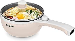 Dezin Electric Hot Pot Upgraded, Non-Stick Sauté Pan, Rapid Noodles Cooker, 1.5L Mini Pot for Steak, Egg, Fried Rice, Ramen, Oatmeal, Soup with Temperature Control, Beige (Egg Rack Included)