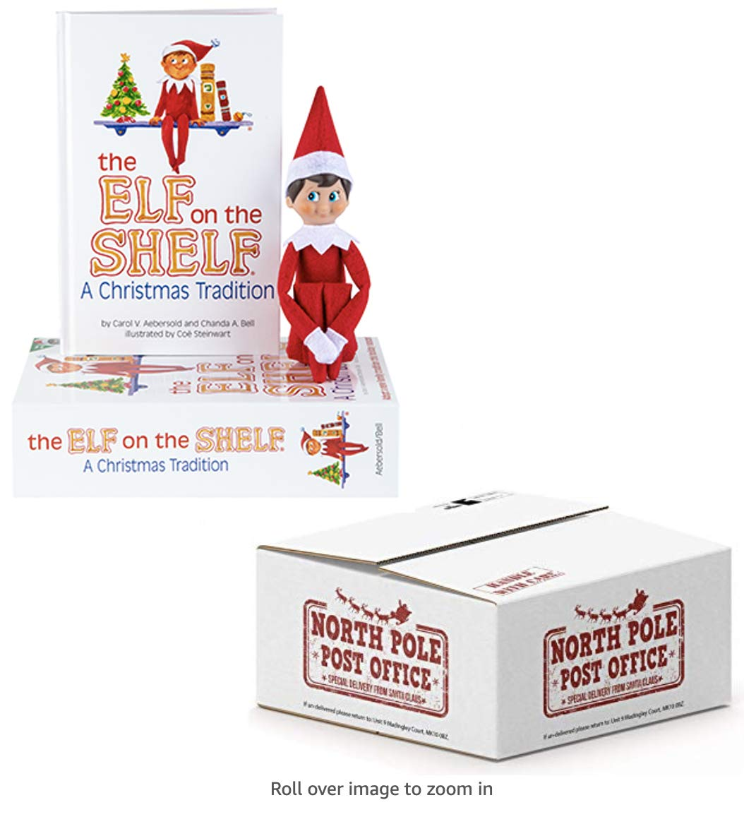Elf on the Shelf®: Christmas Tradition with a Blue-Eyed Boy Scout Elf in Red with Book - Direct from North Pole Post Office