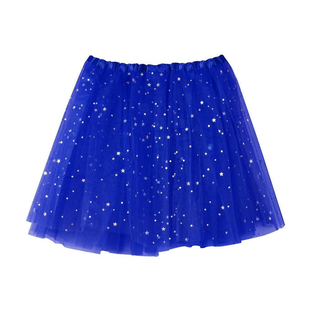 NUWFOR Women's Layered Stars Sequins Tutu Skirt Princess Ballet Dance Dress(Blue)
