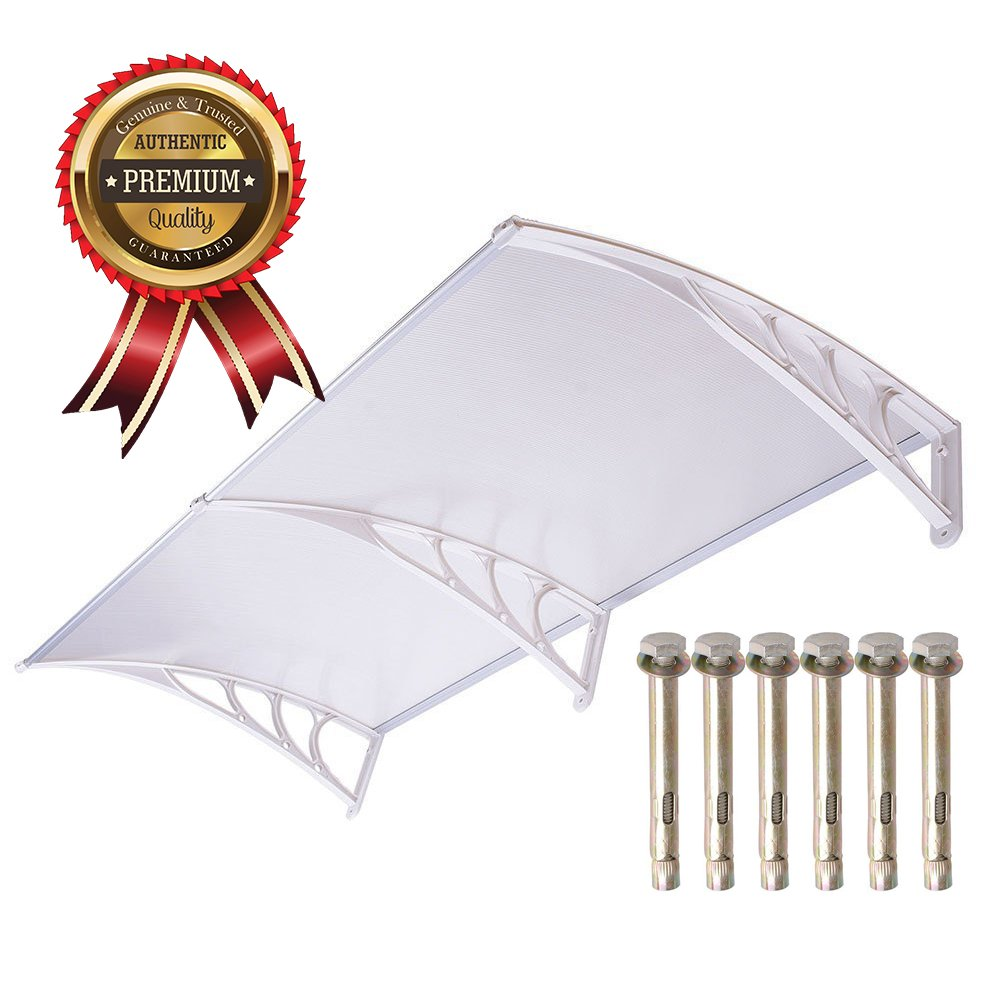 UV Protection Overhead Clear Outdoor Patio Awnings, Window Awnings - GC Global Direct (6.5FT, White)