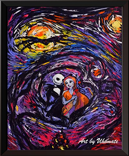 Uhomate Jack Sally Jack and Sally Nightmare Before Christmas Vincent Van Gogh Starry Night Posters Home Canvas Wall Art Anniversary Gifts Baby Gift Nursery Decor Living Room Wall Decor A016 (8X10) -