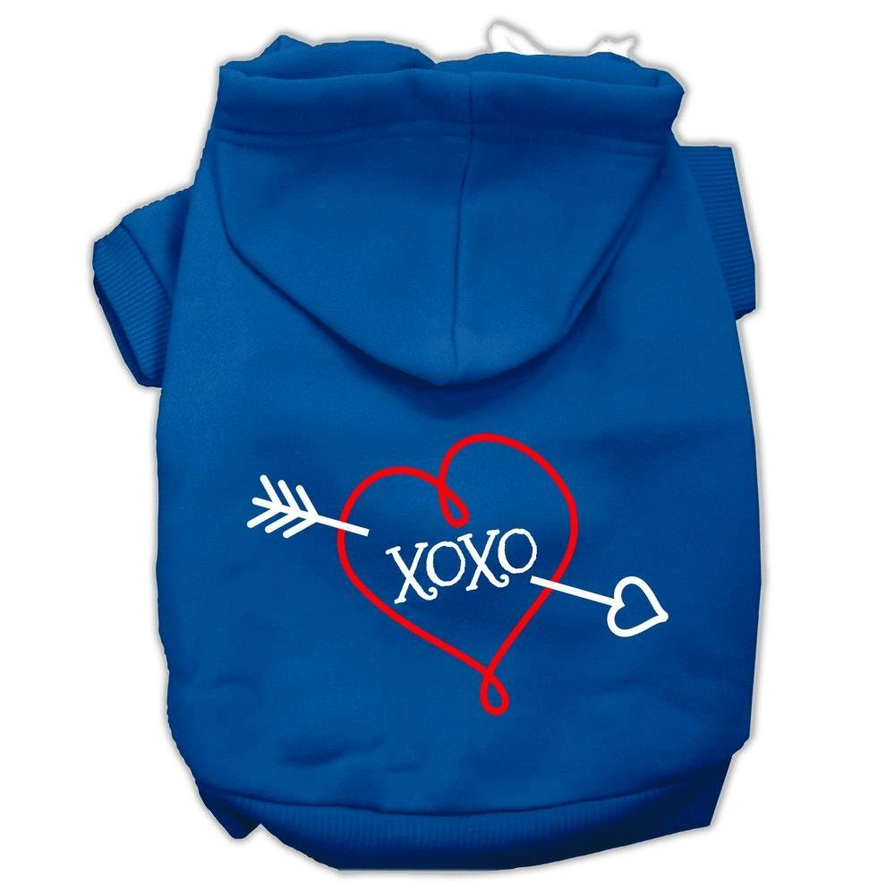 bluee X-Small bluee X-Small Mirage Pet Products 8  XOXO Screen Print Pet Hoodie, X-Small, bluee