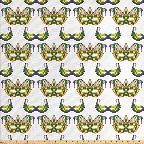 Ambesonne Mardi Gras Fabric by The Yard, Festive Pattern with Masks Traditional Carnival Celebration Costume, Decorative Fabric for Upholstery and Home Accents, 1 Yard, Purple Green -
