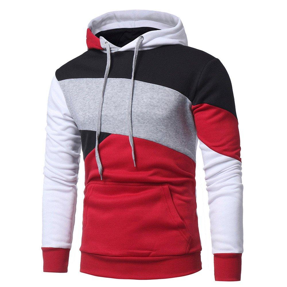 Farjing Hoodie for Men,Clearance Sale Mens' Long Sleeve Patchwork Hoodie Hooded Sweatshirt Tops Jacket Coat (M,Red