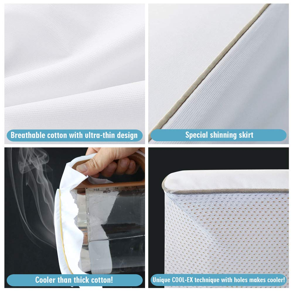 Ruili King Size Premium 100% Waterproof Mattress Protector-Vinyl Free, Deep Pocket Stretch to 6-18'' Cooling Waterproof Mattress Cover, Hypoallergenic Fitted Mattress Protector - 10 Year Warranty by Ruili (Image #3)