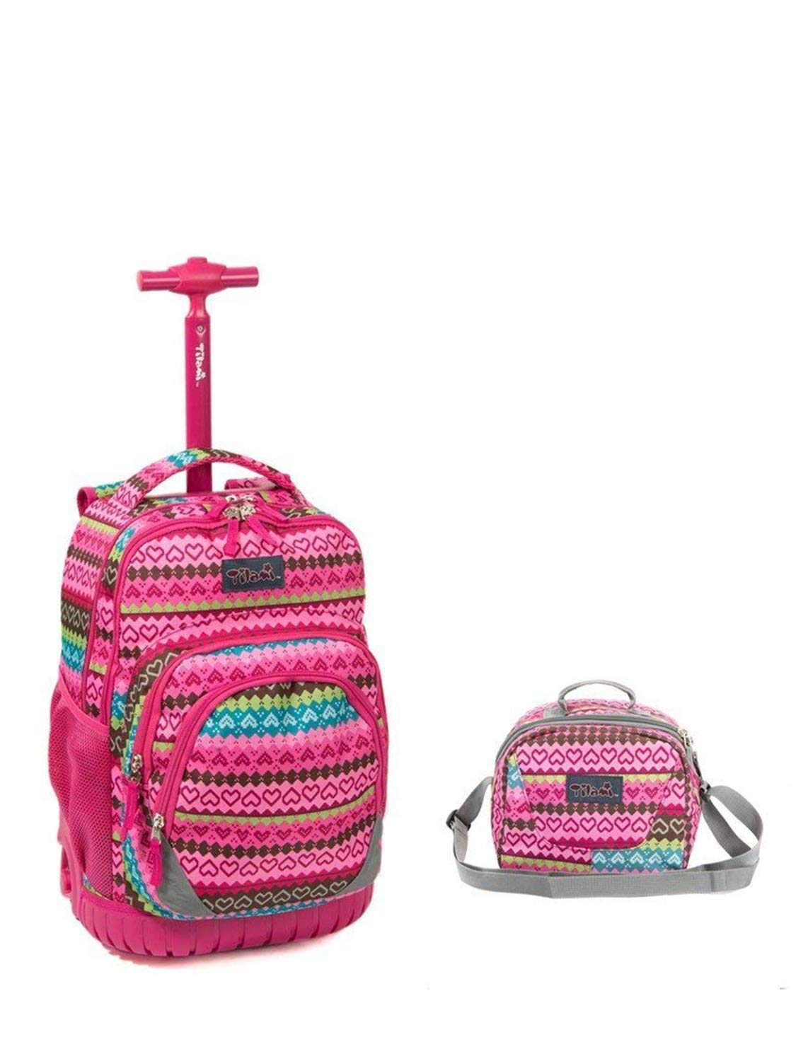 Tilami New Antifouling Design 18 Inch Wheeled Rolling Backpack Luggage & Lunch Bag (Pink love)