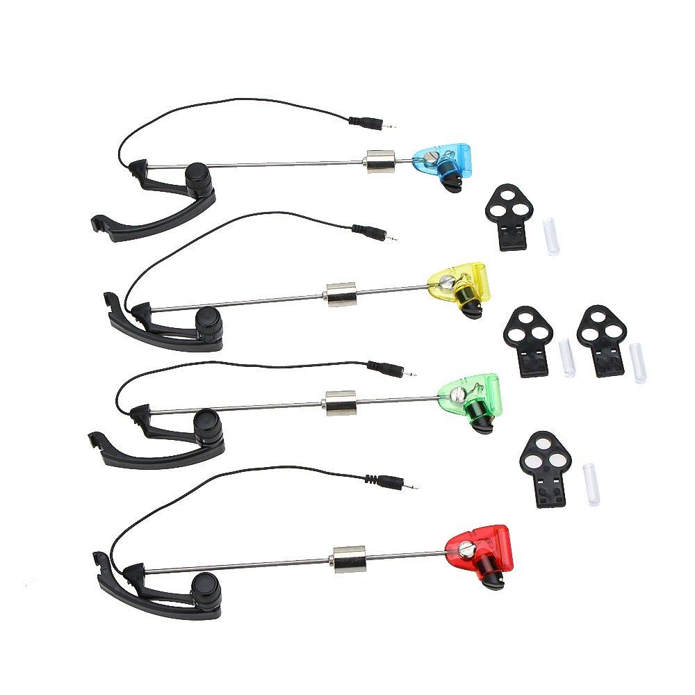 Lixada 4Pcs/lot LED Carp Fishing Swinger Fishing Bite Alarm Alert Set Stainless Steel with Case Illuminated Swinger for Pesca   B07GF7T9WF