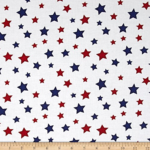Wilmington Prints Essentials Star Fall White/Red/Blue Fabric by The Yard,