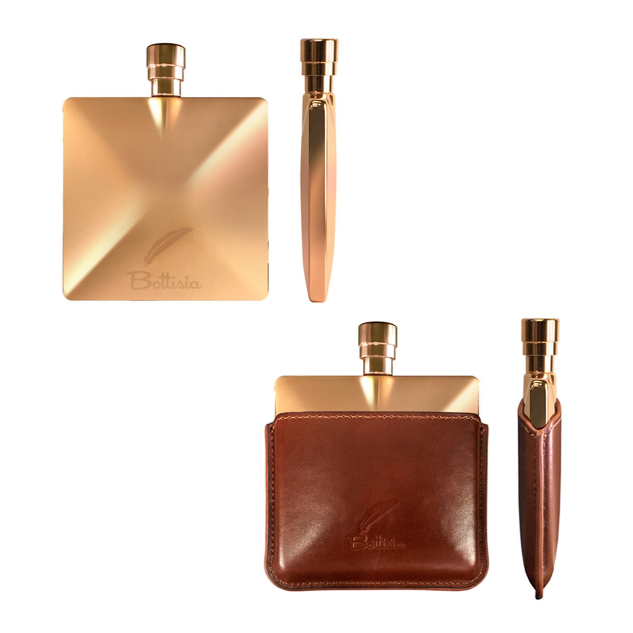 Flasks For Liquor by Bottisia 3 Oz Rose Gold Pocket Hip Flask With Stainless Steel Flask Funnel /& Genuine Leather Pouch a Luxury Fathers Day Gift Set For Men
