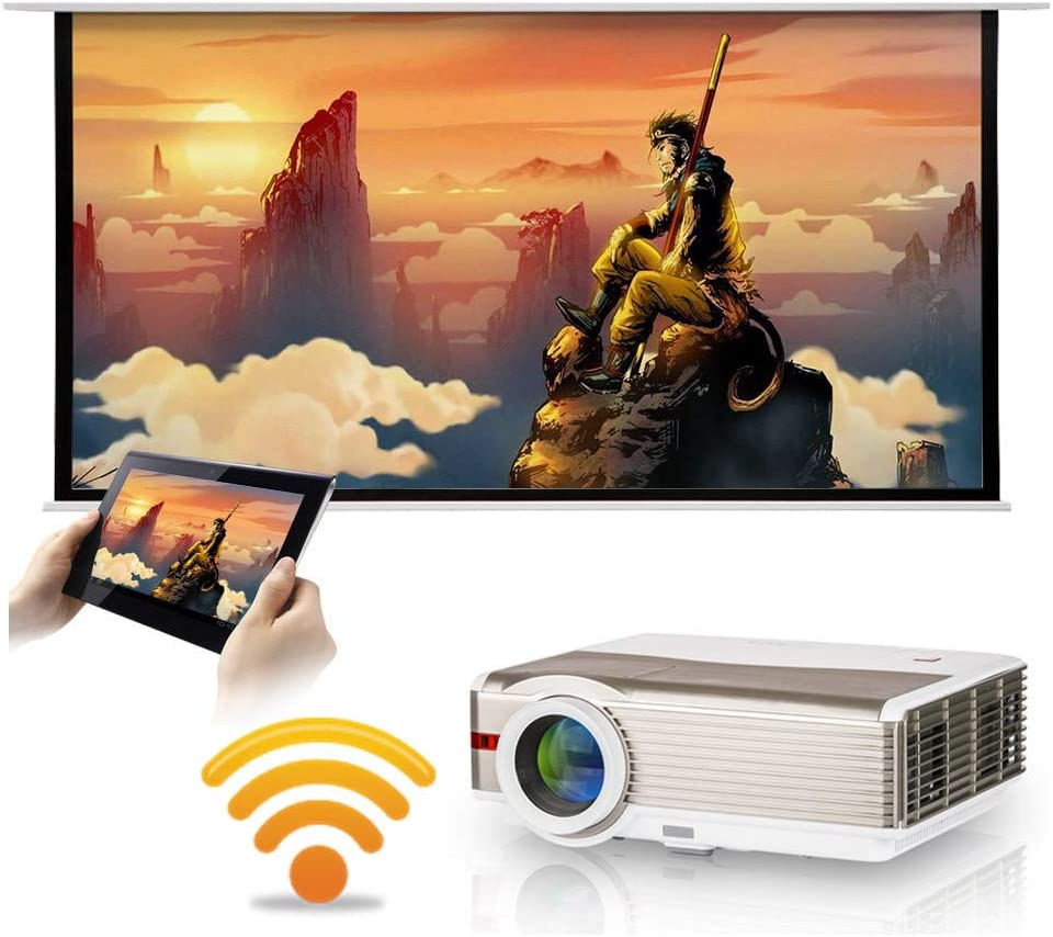 Wireless LCD LED Video Projectors Wxga Support 1080P Smart Wifi HD Outdoor Home Theater Cinema Projector 5000 Lumens HDMI USB VGA AV Audio Airplay Miracast for iOS Android with Zoom Keystone Ceiling