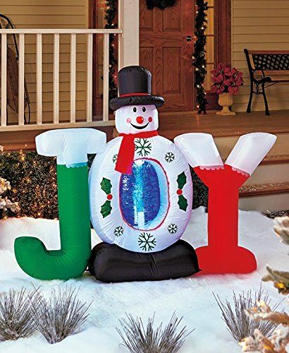 50 Lighted Joy Snowman Holiday Inflatable Airblown Whimsical Snow