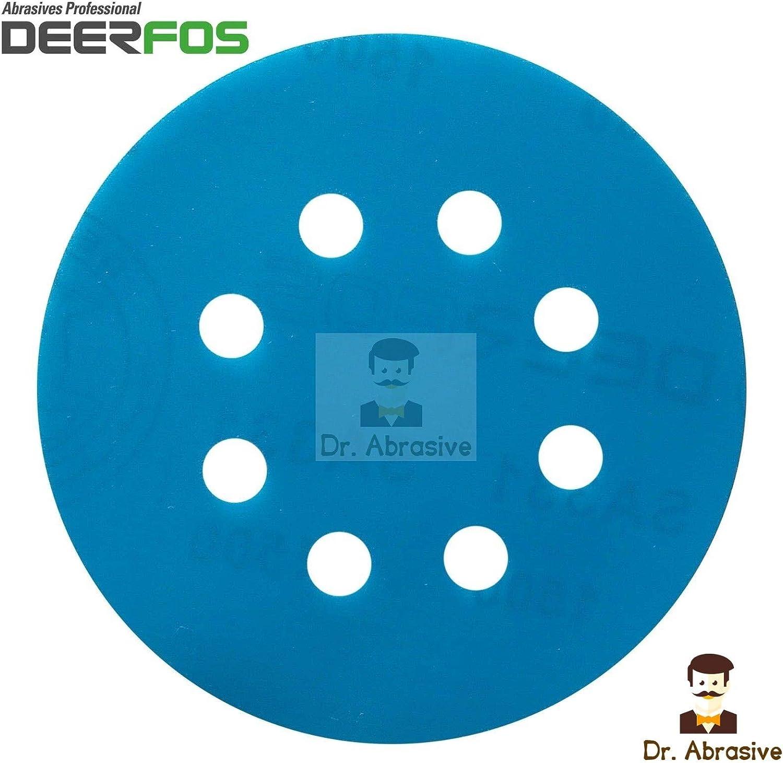 303 125mm Wet and Dry Sanding Discs 5 inch Waterproof Film DEERFOS Hook /& Loop Pack of 25 P2500
