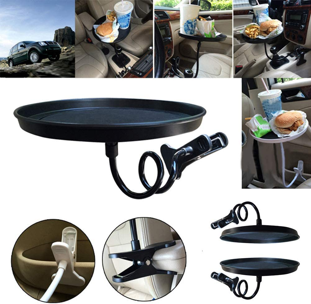 Car Dining Table,Car Swivel Tray,360-degree Adjustable Food Tray,Non-Slip Fast Food Tray for Beverages, Snacks, Mobile Phone Storage