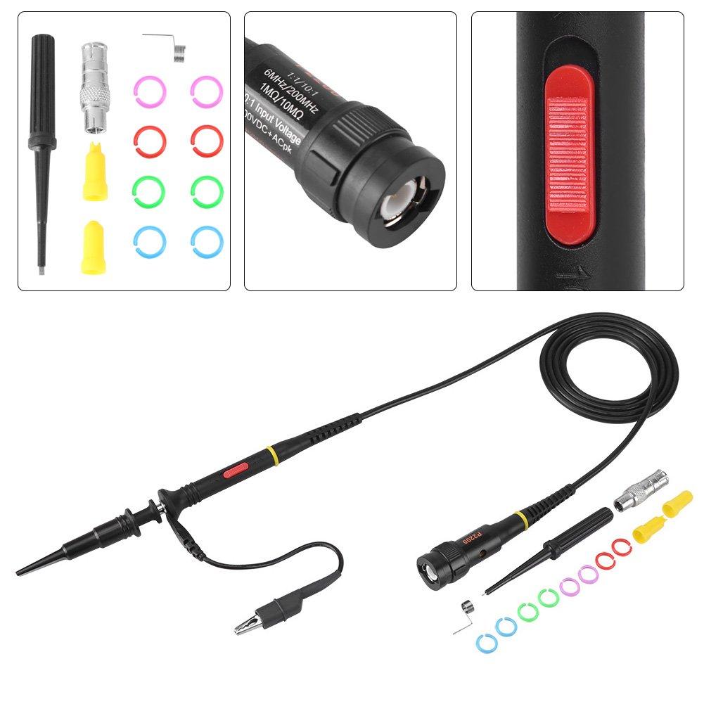 Oszilloskop Sonde,200 MHz Oszilloskop Scope Pr/üfspitzen Clip mit BNC Kopf f/ür die meisten BNC-Oszilloskope P2200 X10 X1 Schwarz