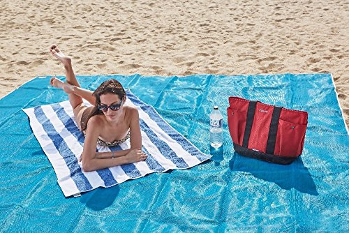 Sand free beach towel Sand & Dirt free Camping mat Size Extra Large Camping world essentials (Blue Try Out T-shirt)