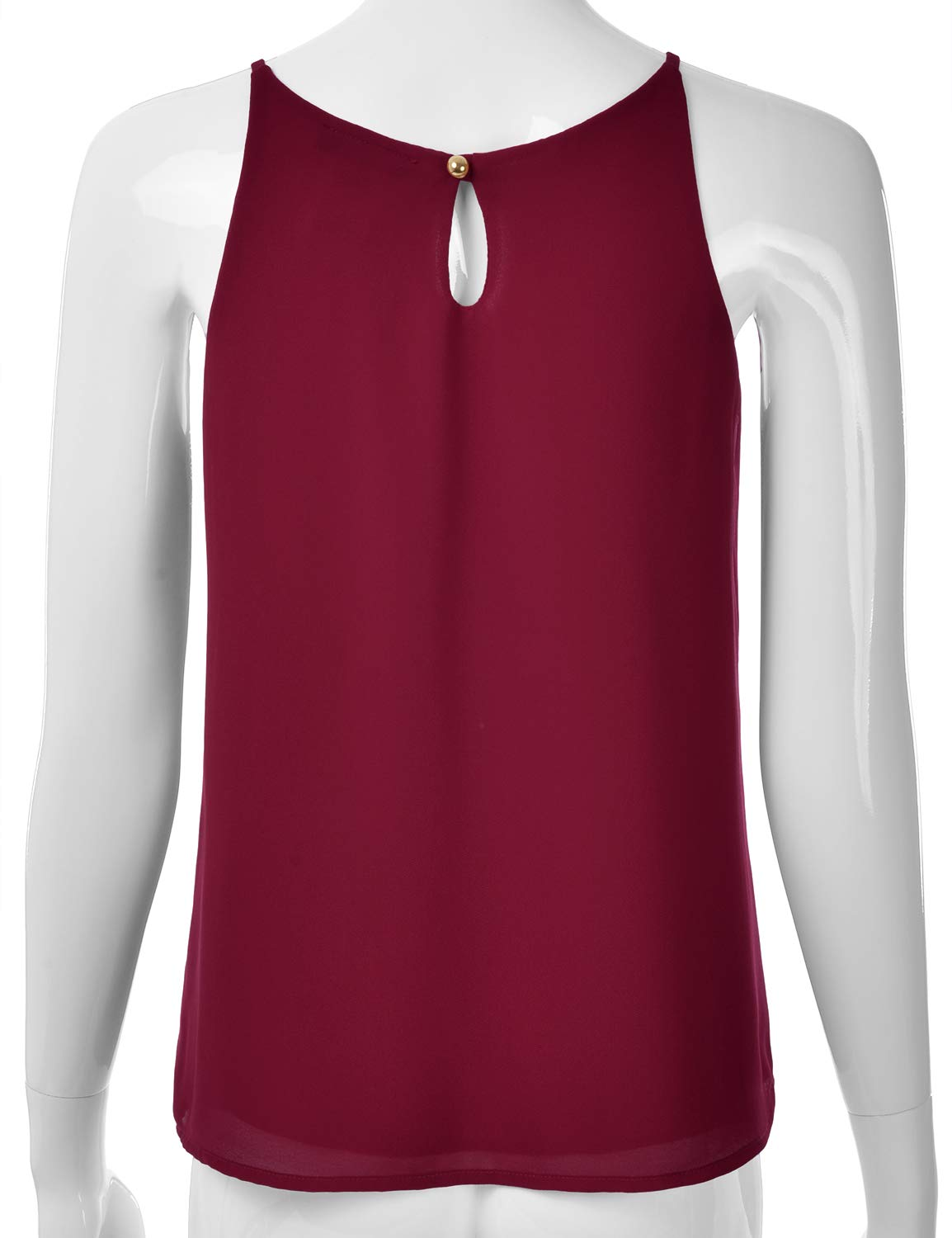 EIMIN Women's Crewneck Pleated Front Double Layered Chiffon Cami Tank Top Burgundy M by EIMIN (Image #3)