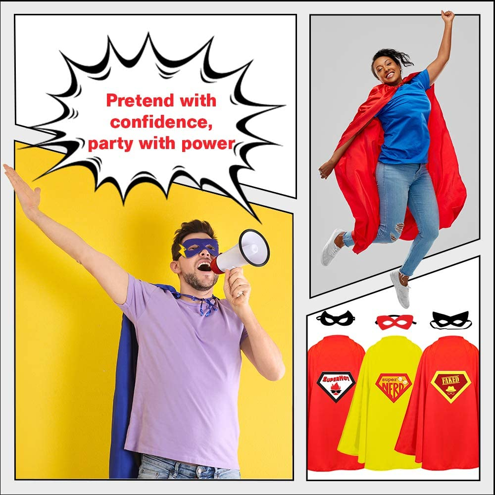8-Piece Set Versatile Group Costume Comfortable Design Materials STOIES Adult Superhero Capes and Masks Party Supplies Halloween and Themed Events