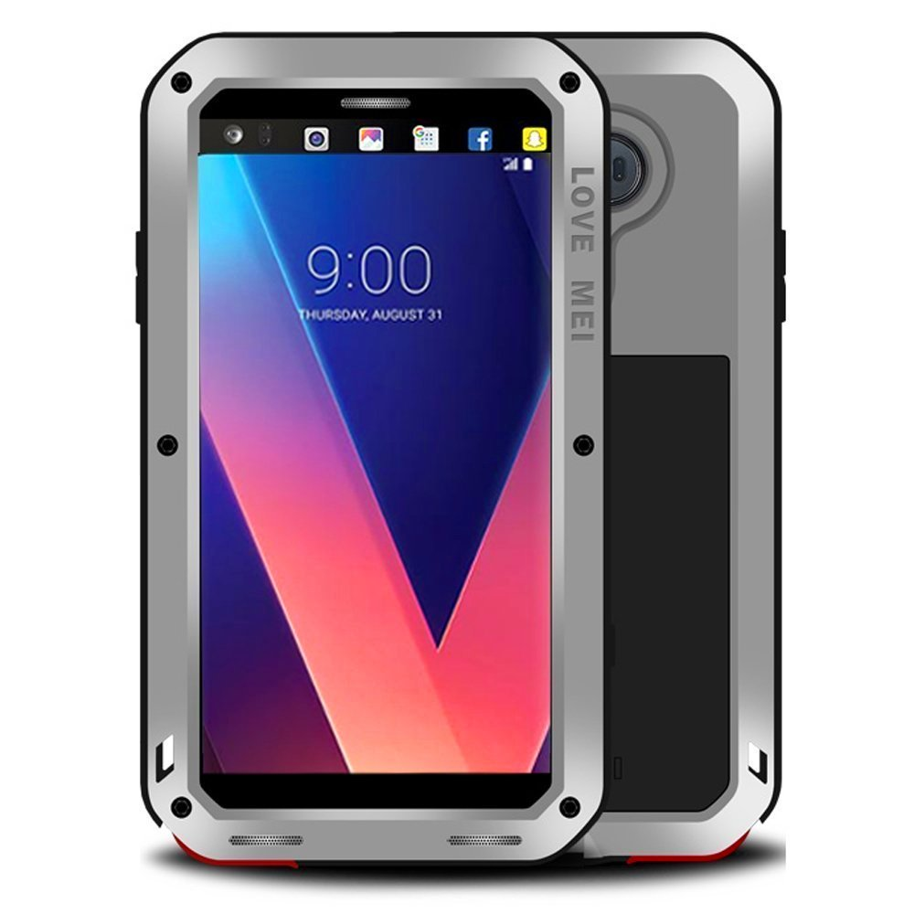 LG V30 V35 Waterproof Case, Hwota Shockproof Waterproof Dust/Dirt/Snow Proof Aluminum Metal Case Heavy Duty Protection Case Cover for LG V30 V35 (Silver)