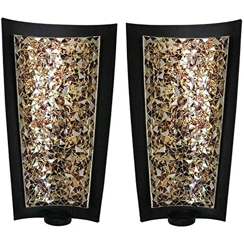 DecorShore Mosaic Wall Sconces Tealight Candle Holders - Abstract Metal Wall Art Candle Sconces Pair (Large - 15 inch)