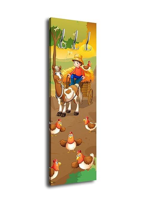 wandmotiv24 Perchero Farmer con Caballo Carro g381 40 x 125 ...